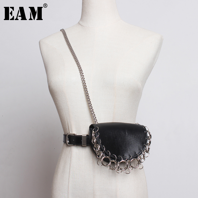 [EAM]  Pu Leather Chain Split Mini-ba Split Long Belt Personality Women New Fashion Tide All-match Spring Autumn 2020 1K385