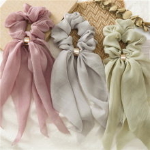 2019 New Sweet Chiffon Long Ribbon Scrunchie Candy Color Women Hair Scarf Hairband Rubber Band Girls Hair Tie Hair Accessories
