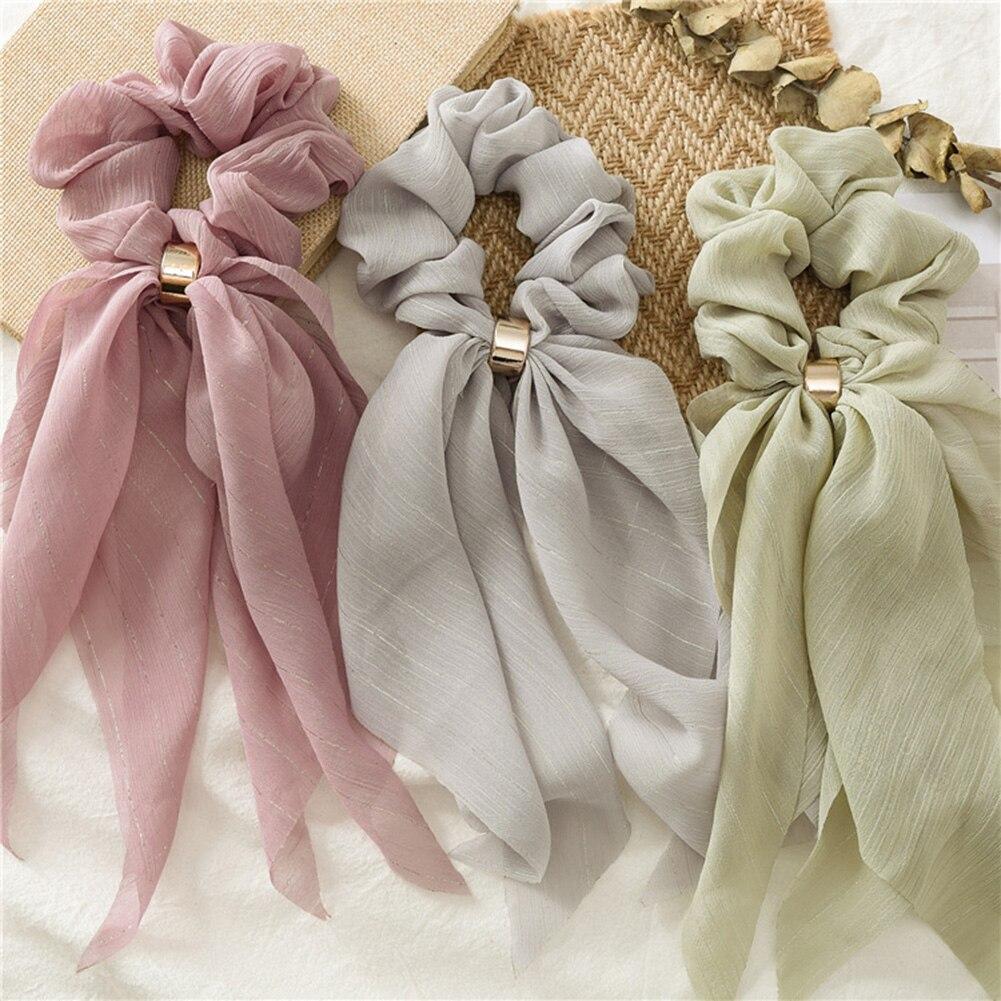 ¡Novedad de 2019! Bonita cinta larga de chifón, pañuelo para el pelo de Color caramelo para mujer, banda de goma para el pelo para niñas, accesorios para el cabello