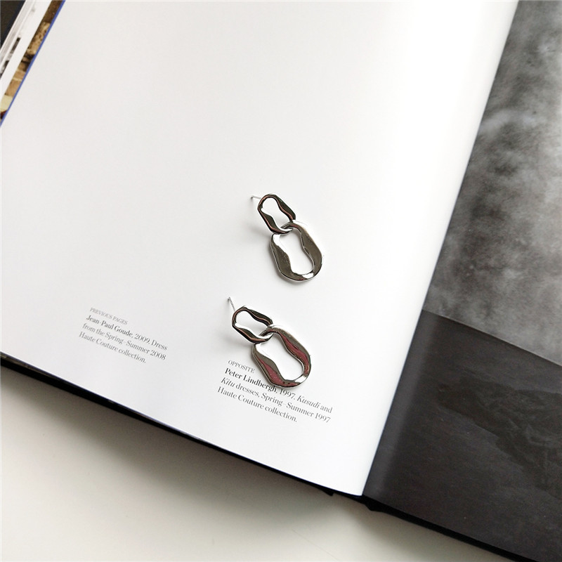 RUIYI European Special-shaped 925 Sterling Silver Geometric Stud Earrings Women Hyperbole Minimalist Irregular Earring Jewelry