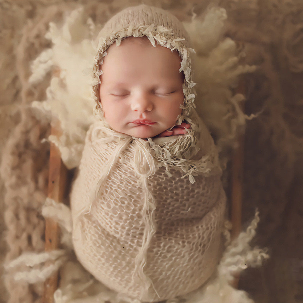 Newborn Photography Props Accessories Soft Mohair Hat+Wrap Set Baby Photo Props Studio Infant Knitted Wraps Baby Hats Fotografia