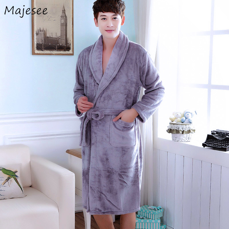 Robe Men Thicker Solid All Match Flannel Home Clothing Casual Mens Robes Long Korean Style Harajuku High Quality Plus Size Soft