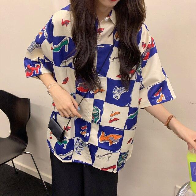 Korean Style Summer Women Blouse Cardigan Button Up Shirt for Ladies Short Sleeve  Ulzzang Harajuku Streetwear Clothes 4