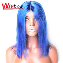 Brazilian Hair Bob Lace Front Wigs Straight Remy Human Hair Colored Wigs 27 30 613# Blue Grey Green Orange Red Purple Yellow(China)