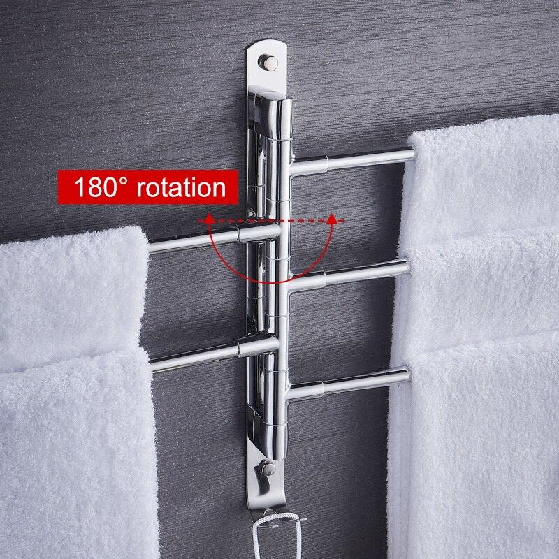 Ванная комната полотенце вешалка нержавеющая сталь сталь полотенце держатель стена крепление поворотный полотенце вешалка кухня органайзер полка ванная аксессуары