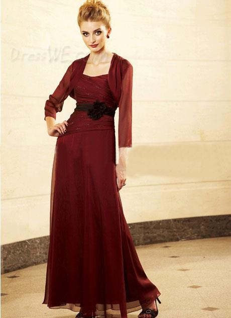 2015 New Charming Ankle-Length A-Line Three Quarter Thick Straps Flower Sashes Chiffon Mother Of The Bride Dresses F334