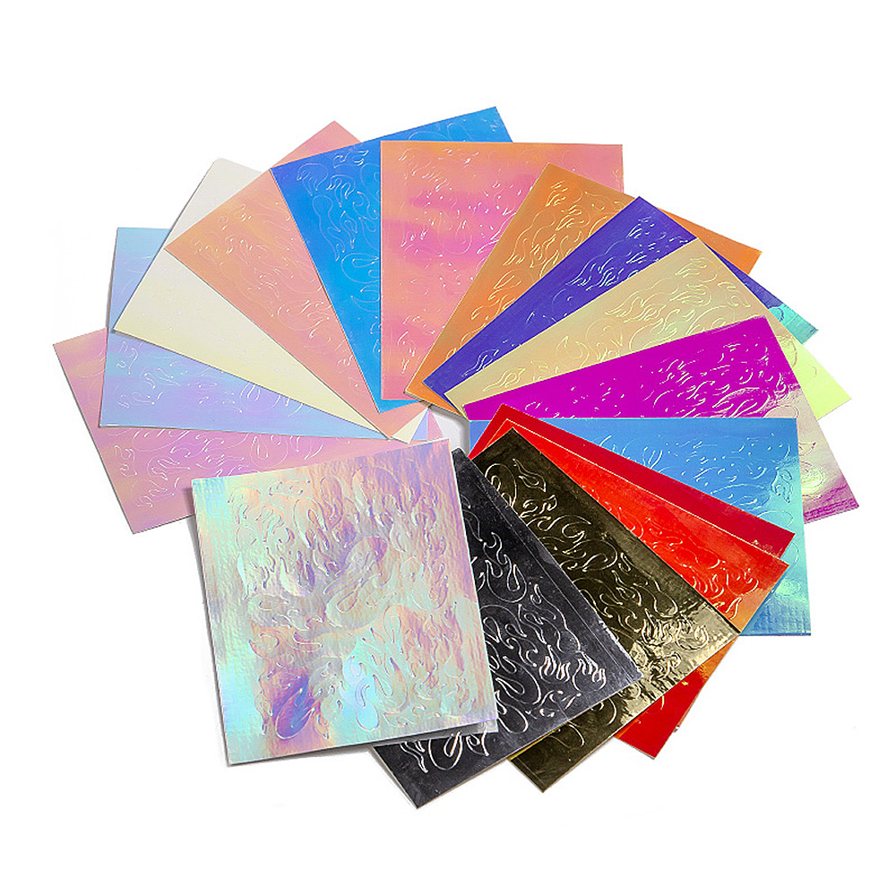 Single laser flame nail art sticker holographic sticker for nails self-adhesive sheet thin sticker dropshipping TSLM1