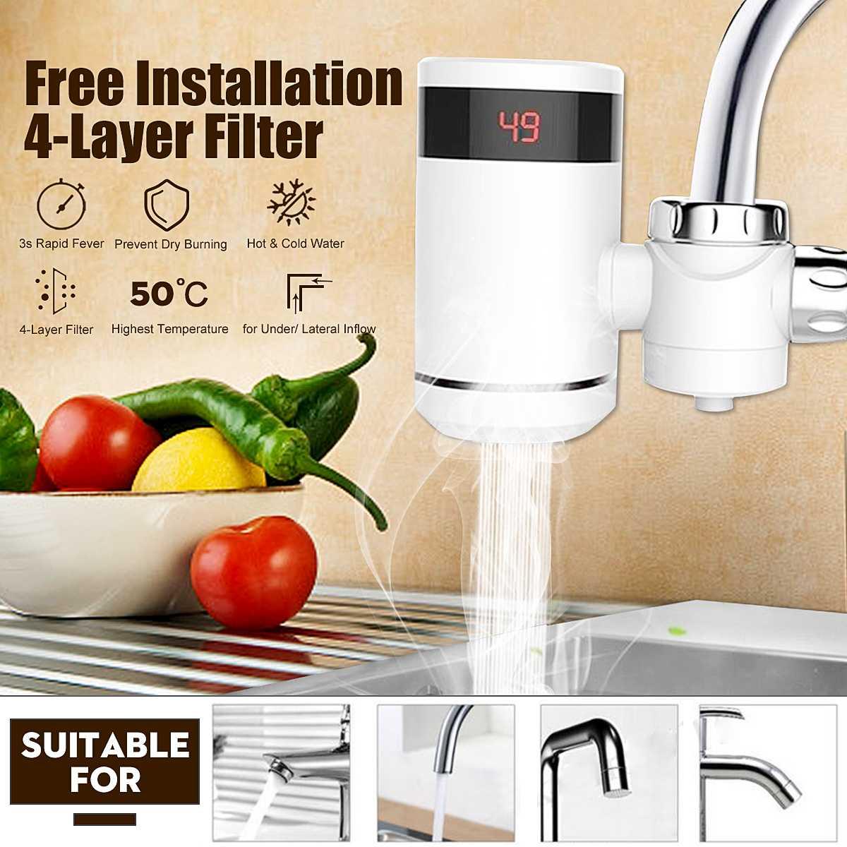 Nouveau robinet de chauffe-eau de cuisine électrique robinet d'eau chaude instantané LED affichage numérique Intelligent robinet d'eau froide maison salle de bain