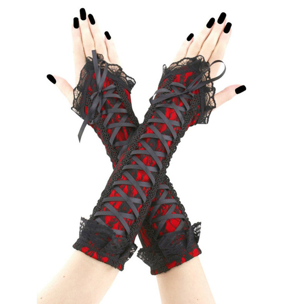 Rosetic Explosion Style Sleeve Retro Sexy Goth Lace Wristband Long Arm Sleeve Bandage Lace Up Arm Sleeve Women Accessories Dark