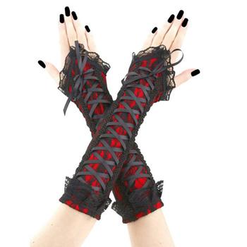 Rosetic styl wybuchu rękaw Retro Sexy Goth koronki nadgarstek długi rękaw rękaw bandaż zasznurować ramię rękaw kobiet akcesoria ciemny tanie i dobre opinie WOMEN Dla dorosłych Poliester Stałe 18325816 Wiosna Glove Elbow Adult Decorated 2019 11 30 European Lace Lace-Up