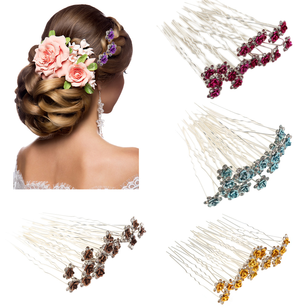 20pcs Women Crystal Rhinestone Butterfly Flower Hairclips Wedding Hair Jewelry