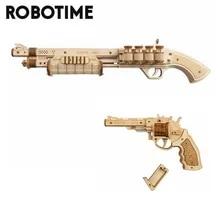 Building-Blocks Toy Gun Rubber-Band Revolver Bullet Gift Robotime Wooden Adult Children