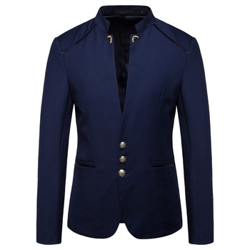 2020 Spring New Model Men's Fashion Trend Metal Buckle Stand Collar Suit Youth Solid Color Stitching Casual Three-Button blazers