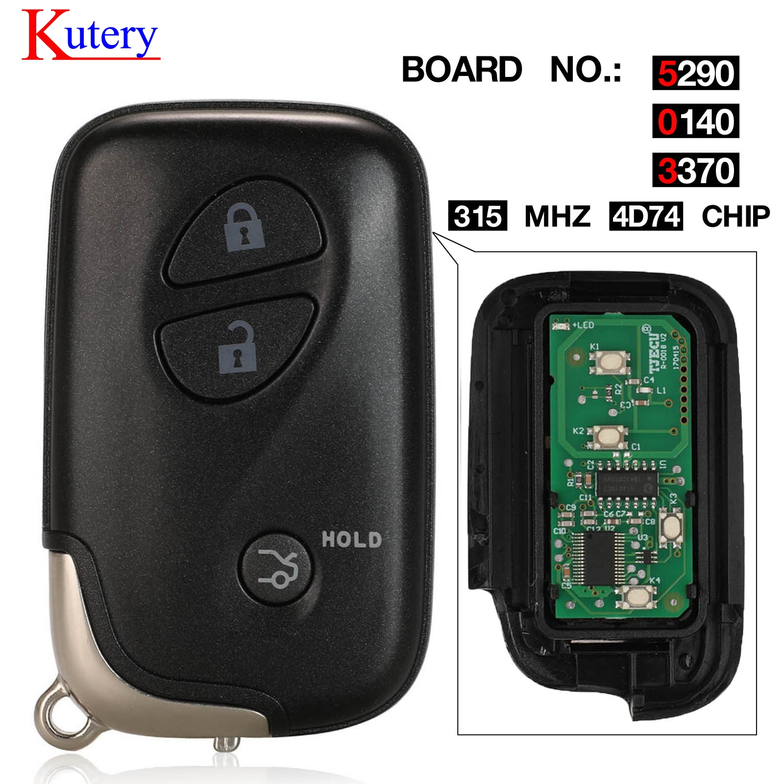 kutery 3 Buttons 315MHz PCB 5290 0140 3370 Smart Remote <font><b>Key</b></font> For <font><b>Lexus</b></font> <font><b>GX460</b></font> ES350 ES240 IS250 IS300 09 -2017 Chip ID74 ID71 image