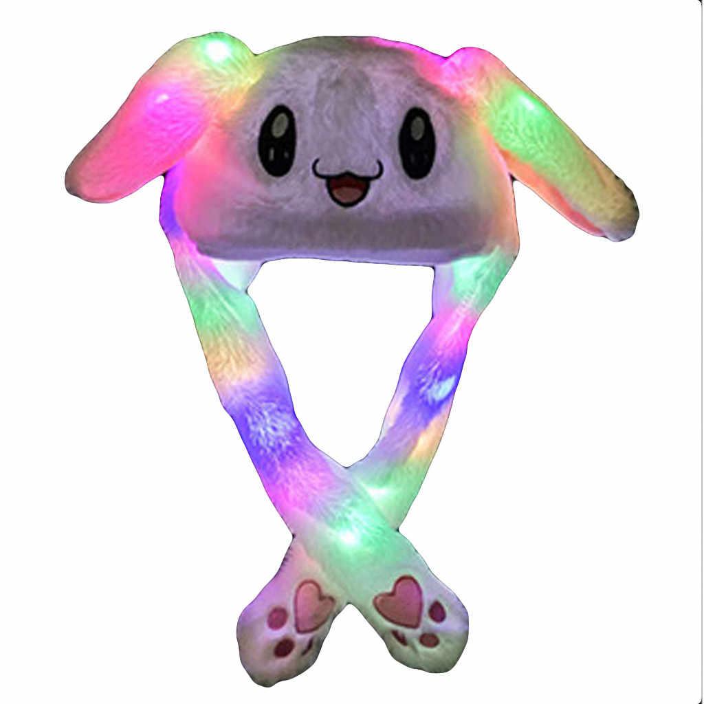 面白い帽子女性男性キッズ照明帽子かわいいウサギの耳豪華な耳移動することができキャップ子供輝き冬暖かいパーティー帽子新