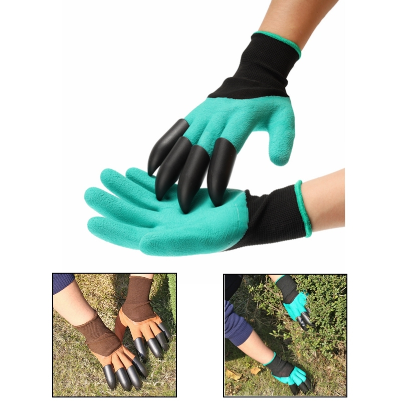 Safety Garden Gloves Mittens Digging Gloves With Plastic Fingertips Claws For Dig Plant Gardening Rose Planting Pruning Gloves
