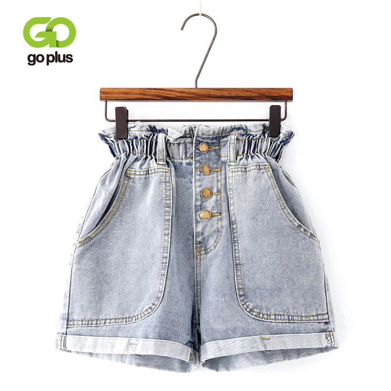 GOPLUS Summer Ruffle Blue Gray Denim Shorts Streetwear 2019 Women Buttons Pocket High Waist Shorts Wide Leg Jeans Shorts C8925