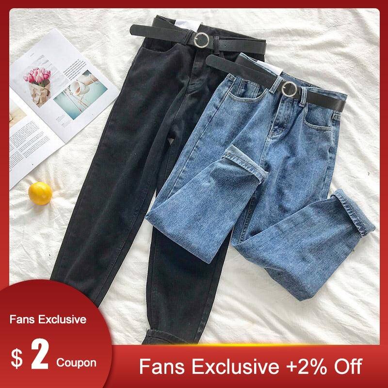 Plus Size Women High Waist Jeans Streetwear Vintage Black All Match 5XL Womens Korean Fashion Stretch Casual Trousers  With Belt