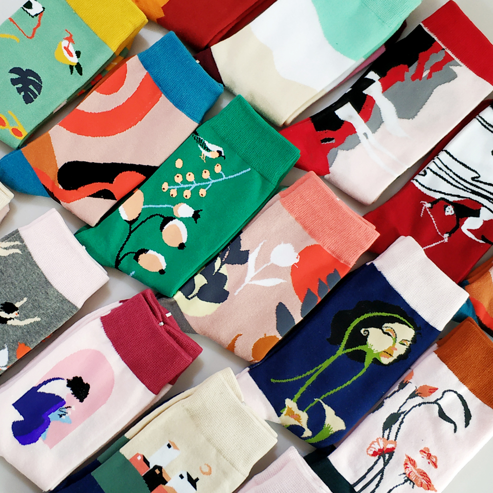 Cartoon Cute Flower Abstract Art Female Socks Animal Cotton Short Creative Women Sock Warm Funny Kawaii Winter Happy Ankle Socks