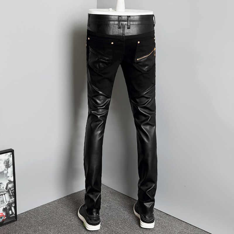2020 Nieuwe Mode Splice Mannen Motorfiets Broek Koreaanse Slim Fit Pu Lederen Broek Streetwear Casual Rits Potlood Broek Plus Size