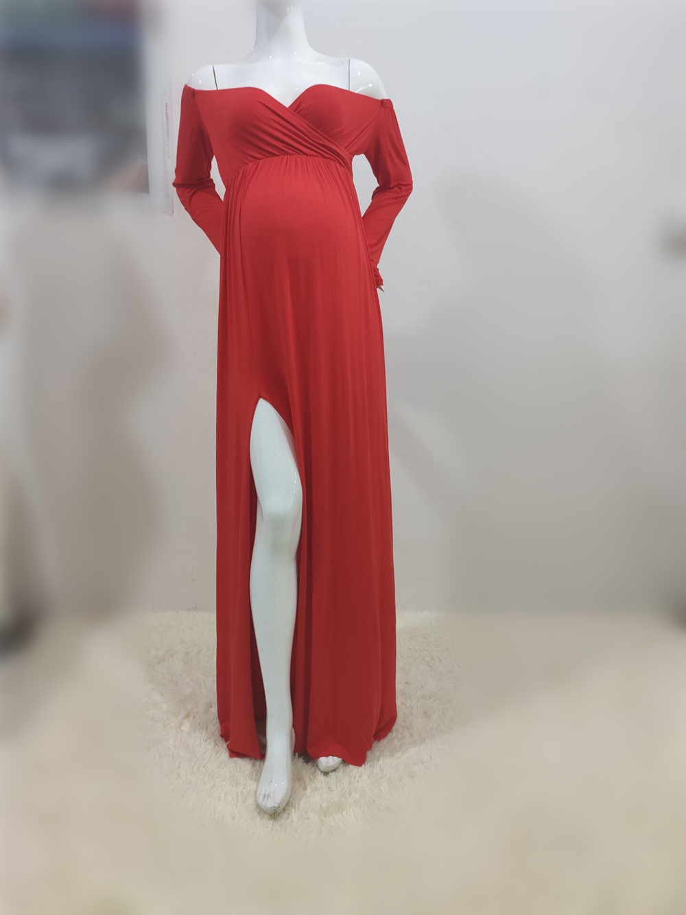Long Shoulderless Maternity Photography Props Dresses Sexy Split Front Pregnancy Dress Photo Shoot For Pregnant Women Maxi Gown (4)