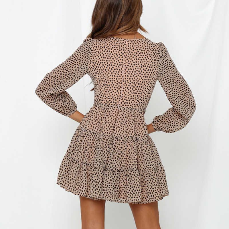קיץ V צוואר ארוך שרוול שמלת שיפון קצר תחרה עד הדפסת גבירותיי סקטים שמלת Vestidos Femme אופנה נמר שמלת עבור נשים