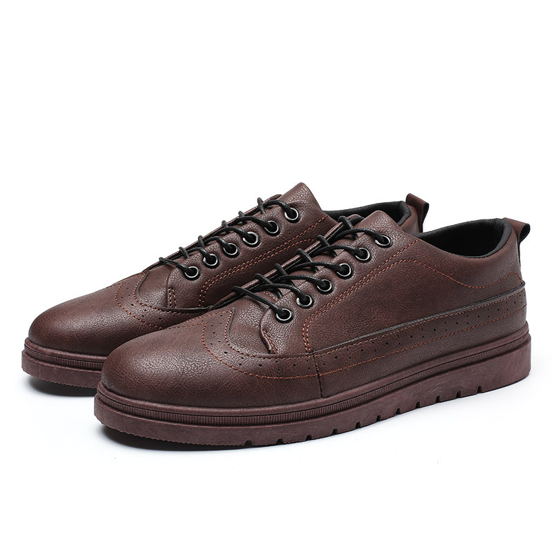 2019 Spring New Style Casual Shoes Men Business Shoe Casual Fashion Lace-up Leather Shoes England Fashion Youth Shoes