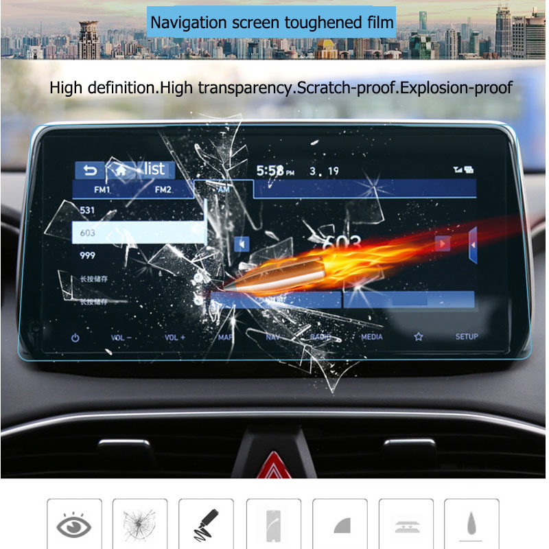 For <font><b>Hyundai</b></font> <font><b>Santa</b></font> <font><b>Fe</b></font> <font><b>2019</b></font> <font><b>2020</b></font> GPS Navigation Tempered glass protection Film LCD Screen Sticker Film Car Accessories image