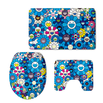 Japanese Skyle Blue Sunflower Print Toilet Seat Cover Set Rug Bathroom Mat Set 3 Pcs WC Decorations Xmas Toilet Seat Cover Sets image