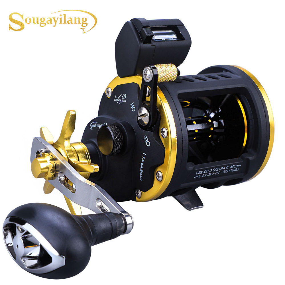 Sougayilang New Product 6+1bb High Strong Trolling Fishing Reel Saltwater Sea Pesca Bait Casting Fishing Reels Trolling Reel