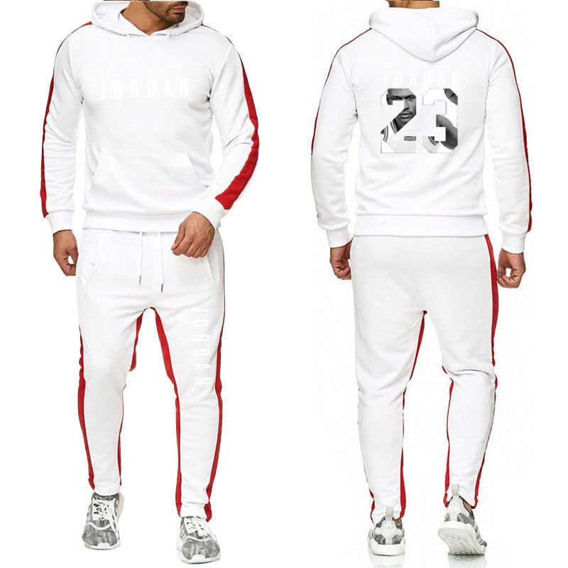 Marka giyim erkek moda eşofman rahat spor takım elbise erkekler Hoodies tişörtü spor JORDAN 23 ceket + pantolon erkek seti