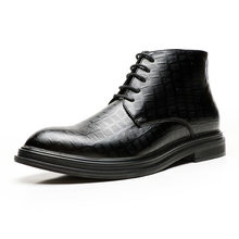 2019 Mannen Laarzen Herfst Winter Enkellaars Mode Schoenen Lace Up Brogue Dress Hoge Kwaliteit Heren Schoenen(China)