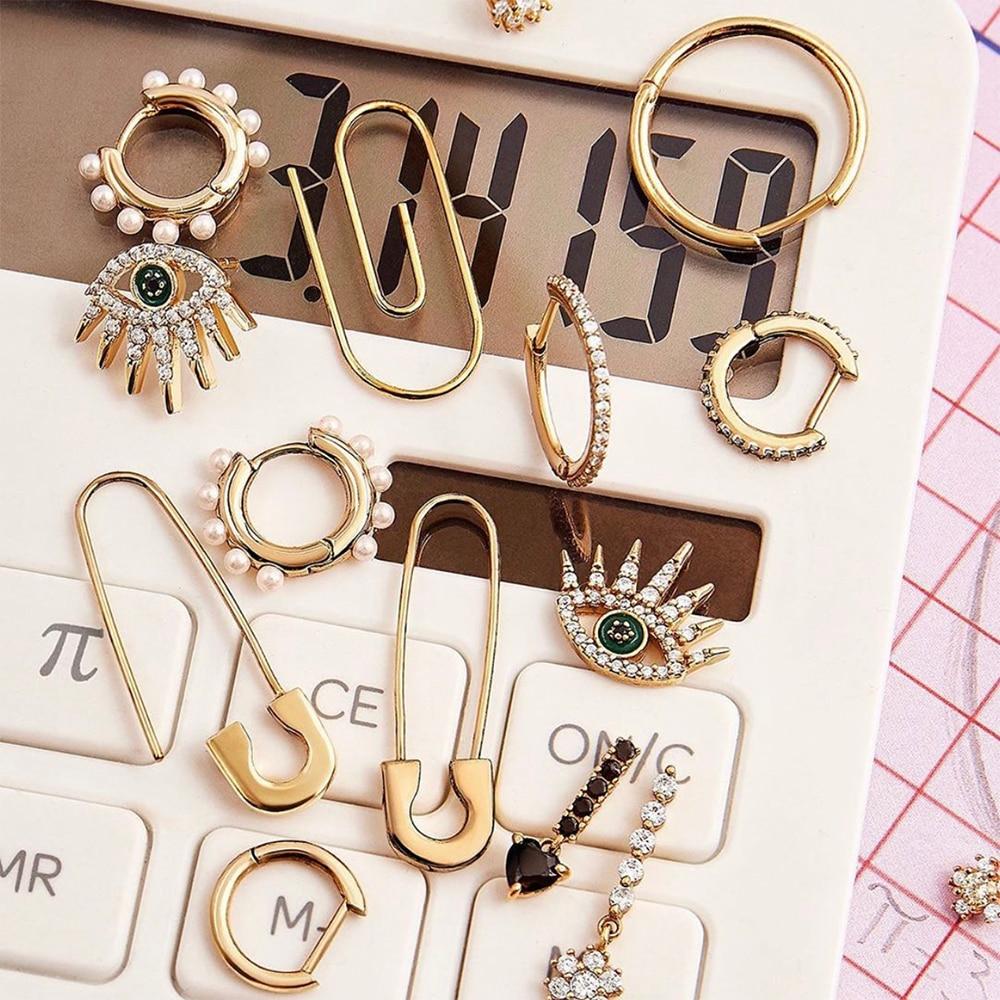 New Fashion Rhinestone Evil Eye Stud Earrings Female Charm Geometric Statement Safety Pin Earrings Women Jewelry Accessories