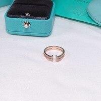 TSHOU159 обручальное кольцо с Т-образным буквенным цирконием tiff 925 Серебряное кольцо с двумя цветами