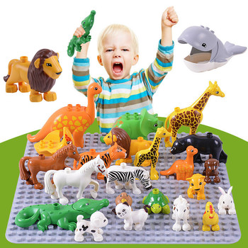 Animales Juguetes DIY Big Particles Bricks Mickey Panda Bear Animals Zoo Farm Hollow Duplo Toys Building Blocks for Kids balody mini blocks big size mario diy building toys large one piece bricks cute auction juguetes for kids toys 16001 16009