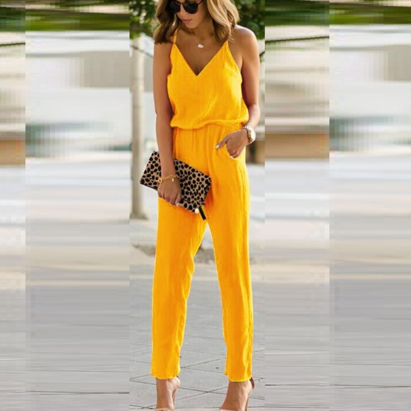 Women Sleeveless Solid Loose Suspender Strap Wide Leg Jumpsuit Overalls Rompers