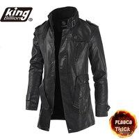 KB 2021 Neue Hohe Qualität Jacke männer Street Windjacke Mantel Männer Leder Kleidung Dicke Jacke Fleece Männer Casual Jacke PU