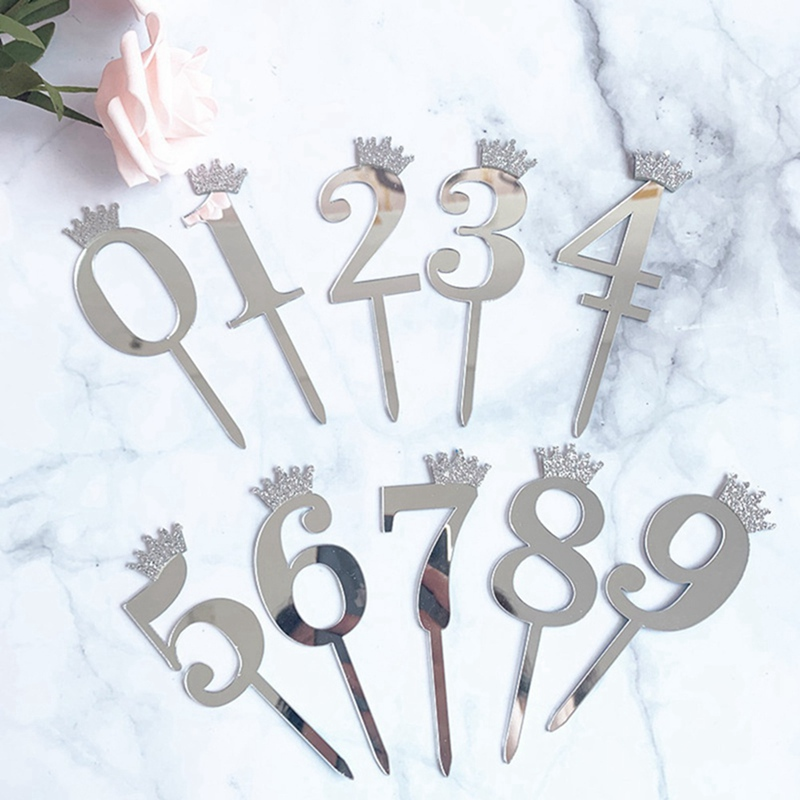 0-9 Numbers Cake Toppers Happy Birthday Cute Crown Number Cake Flag Acrylic Cupcake Topper Birthday Party Cake Decoration Topper image