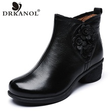 Women Boots Flower Spring Thick Heel Zipper Autumn Genuine-Leather DRKANOL Basic Ankle