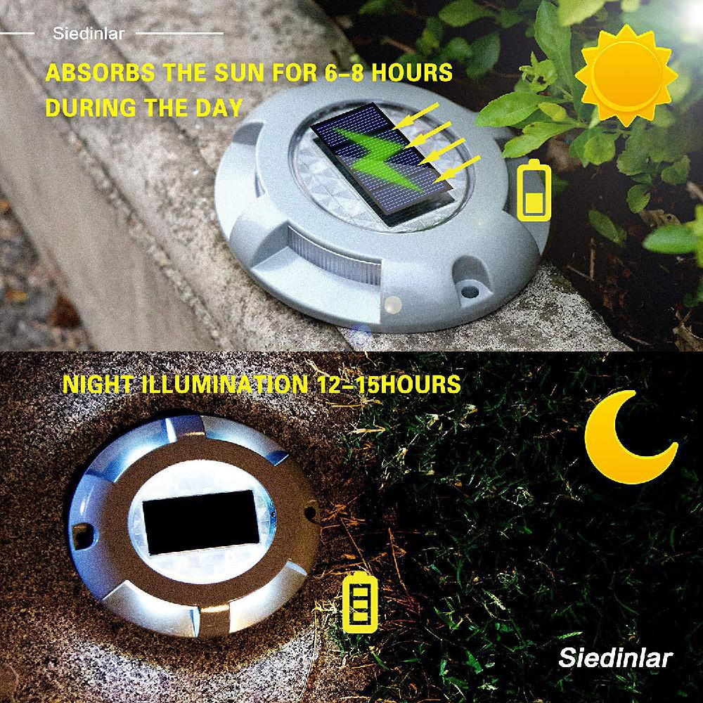 Solar Deck Lights Driveway Dock LED Light Outdoor Waterproof Road Markers For Step Sidewalk Stair Garden Ground Pathway Yard