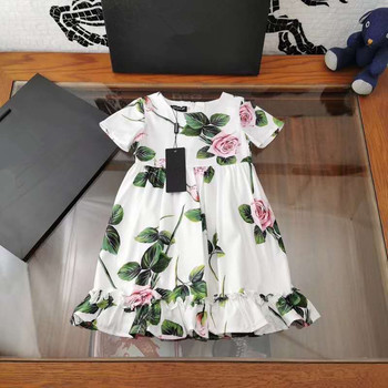 2020  New Girl's Vacation Style Beach Rose Dress Green Leaf Sling Cotton Dress  summer
