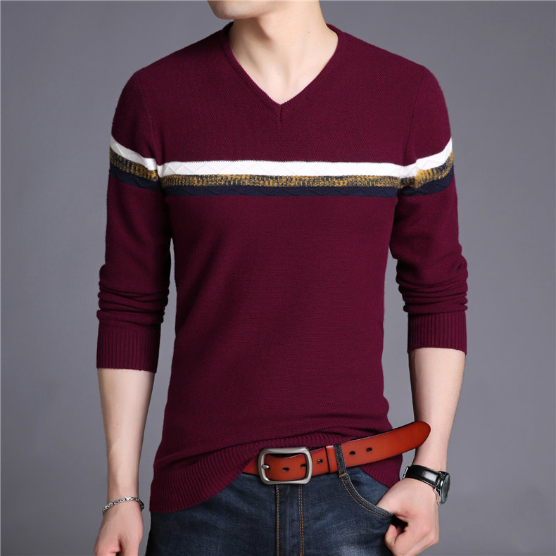 New Fashion 2020 Spring Autumn Men Wool Pullovers Men Sweaters Pullover Men Colorful Sweater V-Neck