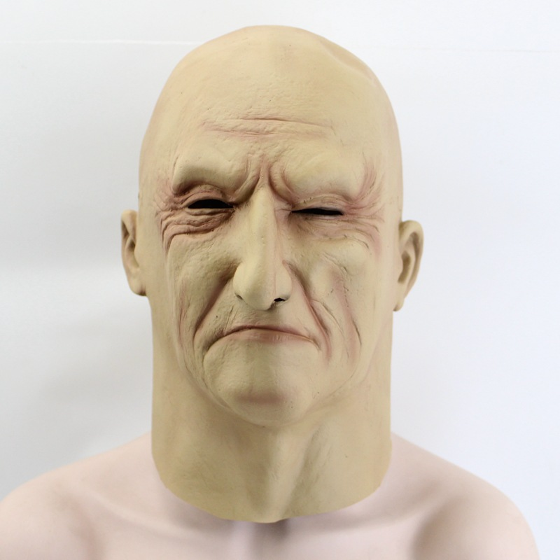 Halloween Realistic Scary Fun Full Head Old Man Horror Latex Mask Party Dress
