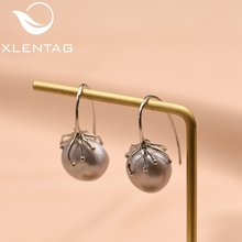 XlentAg Natural Fresh Water Baroque Gray Pearl Handmade Earrings Hook For Women Luxury Jewellery Oorbellen Voor Vrouwen GE0335B