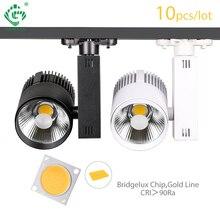 Luz en riel rastreador punto de luz 30W COB ropa tienda de zapatos pista reflector de luces LED 2/3/4 3 Fase de la lámpara de la pista 10 unids/lote