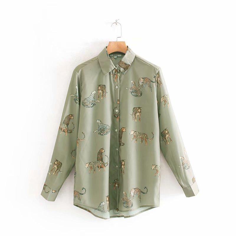 Women Zaraing Retro Fashion Wild Leopard Print Drape Collar Shirt Early Autumn New Personality Loose