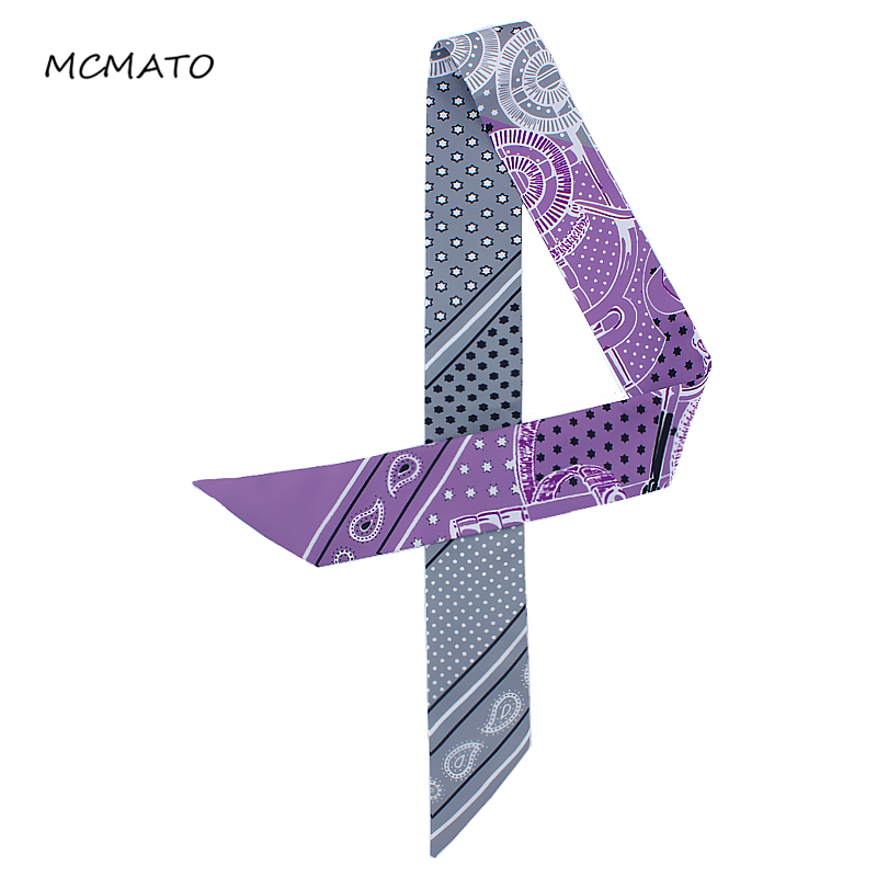 New Fashion Style Luxury Brand Woman Scarf Cashew Star Printed Head Scarf For Ladies Bag Ribbons Small Long Fashion Tie Scarves