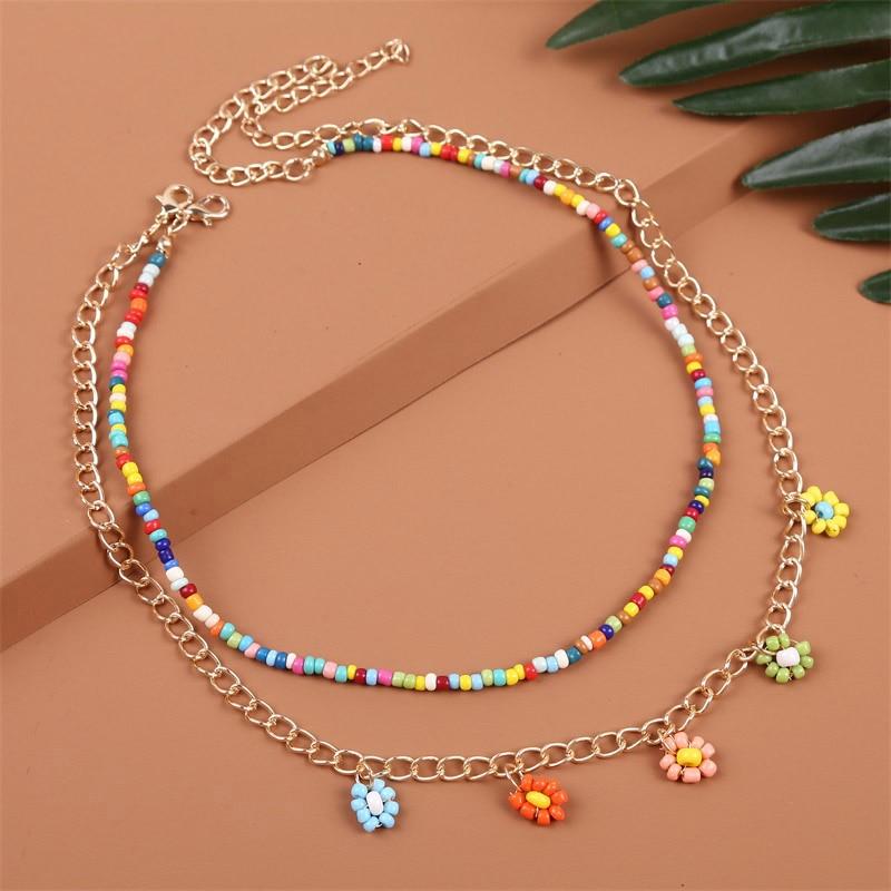 2 шт./компл. богемский разноцветный бисер ожерелья для женщин в богемном стиле золотого цвета с металлической цепочкой ручной работы с бисер...