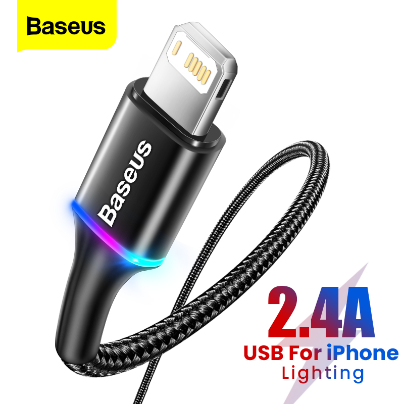 Baseus Lighting USB Cable For iPhone 12 11 Pro Max X XR XS 8 7 6 6s iPad Fast Charging Mobile Phone Charger Cable Data Cord Wire