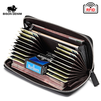 BISON DENIM 100% Cow Leather Clutch Wallets for Men RFID Blocking Card Holder Wallet Coin Purse Long Phone Wallet W8226